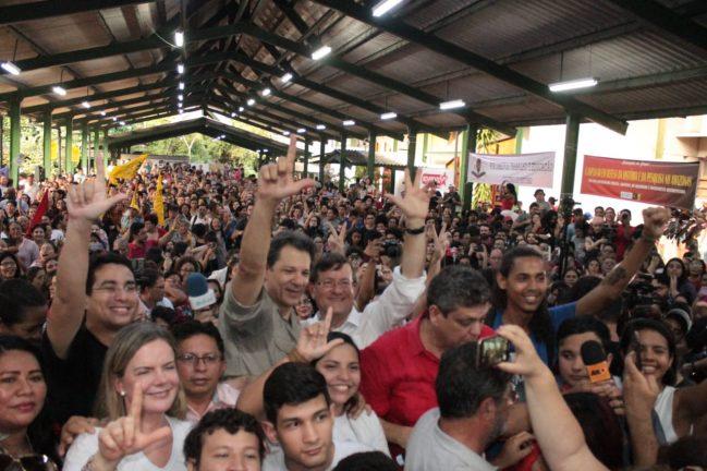 Gleisi Hoffmman, Haddad e José Ricardo em evento do PT na Ufam Foto: Divulgação/PT