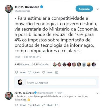 Postagem presidente Bolsonaro sobre redução de impostos sobre importação de produtos de tecnologia da informação