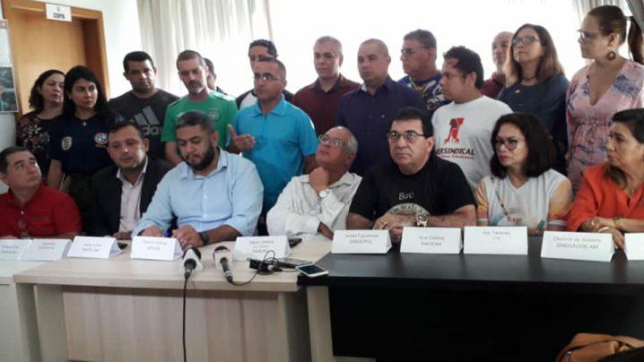 Líderes de sindicatos e associações de servidores do Estado. Gerson Feitosa, Apeam, Assprom, Sinteam, Simeam, Motis
