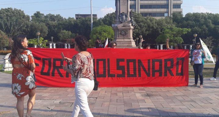 Protesto do dia 13 de agosto contra a Reforma da Previdência e contra os bloqueios na Educação saiu da Praça da Saudade e foi até a Praça do Congresso. Foto: Rosiene Carvalho