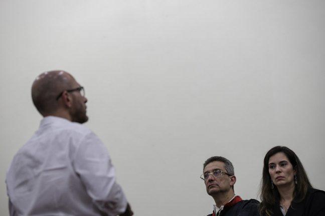 Foto: Gustavo Sotero, promotor George Pestana e advogada Catharina Estrella (Raphael Alves/Divulgação TJ-AM)