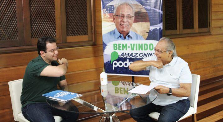 Foto: Deputado estadual e presidente estadual do Podemos, Wilker Barreto, e pré-candidato a prefeito, Amazonino Mendes. (Divulgação)