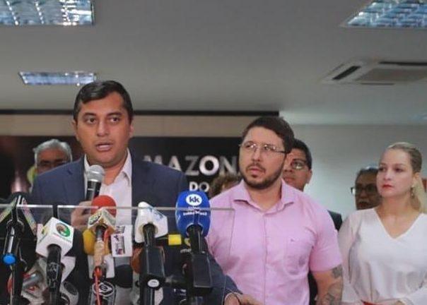 Foto: Governador Wilson Lima, vice-governador Carlos Almeida Filho e ex-secretária de Justiça Caroline Braz. (Divulgação)